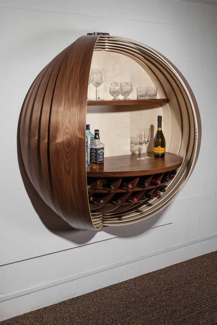 Design ousado abre e fecha utilizado como barzinho para sala