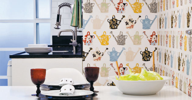 Enfeites para cozinha com desenhos em papel de parede