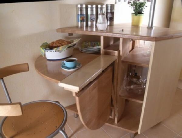 mesa dobrável para cozinha em madeira natural