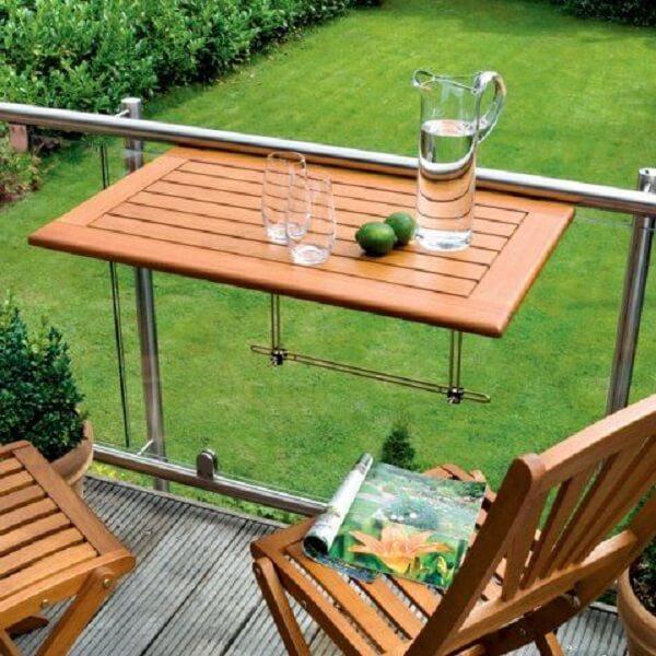 mesa dobrável de madeira para varanda