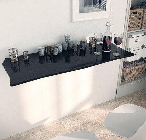 mesa dobrável em laca preto para o ambiente de cozinha
