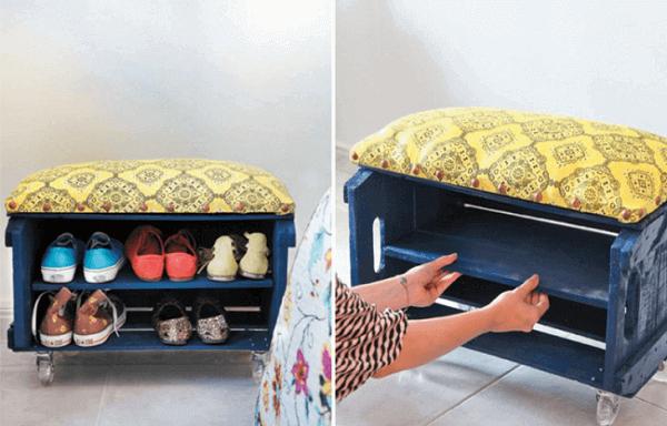 Sapateira feita com caixote de madeira