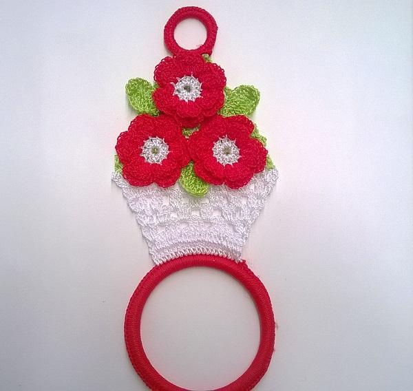 Porta pano de prato de crochê de vaso de flores.