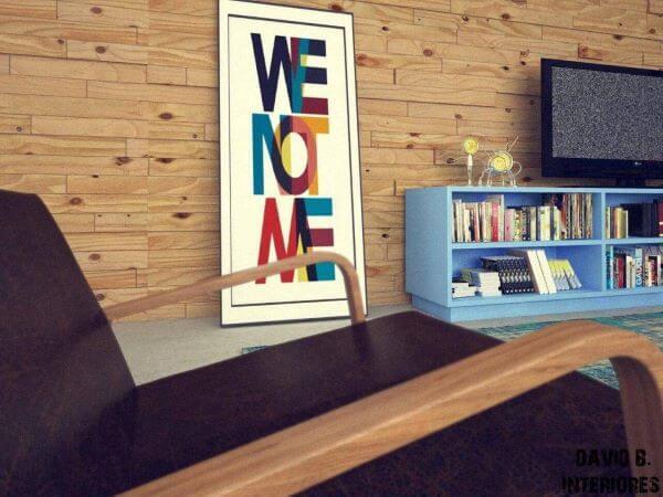 Rack para sala de estar azul