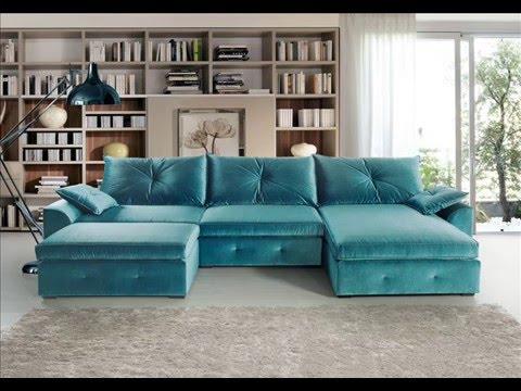 Sofá retrátil 3 lugares com tecido azul