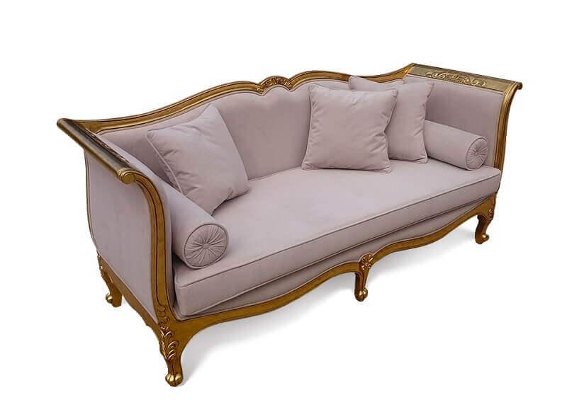 decoração para sala com sofá Luis XV