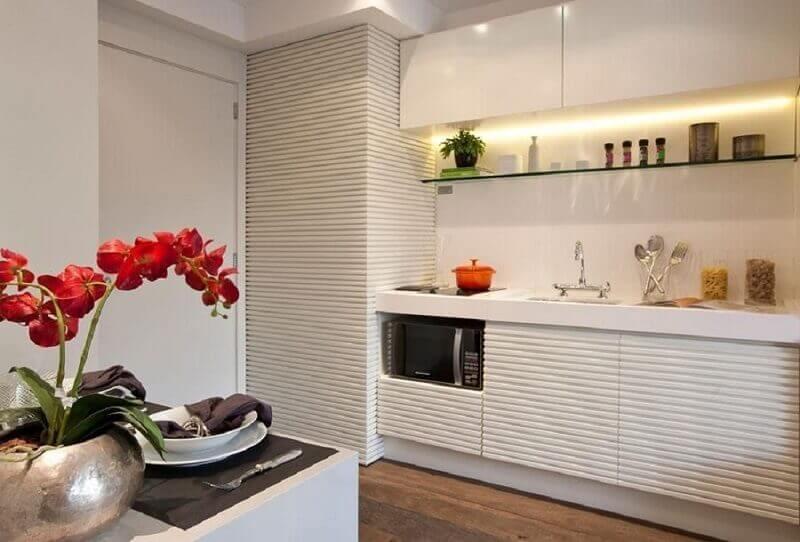 armário de cozinha modulado para decoração clean em cozinha compacta