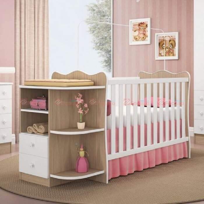 berço com cômoda para decoração de quarto de bebê feminino