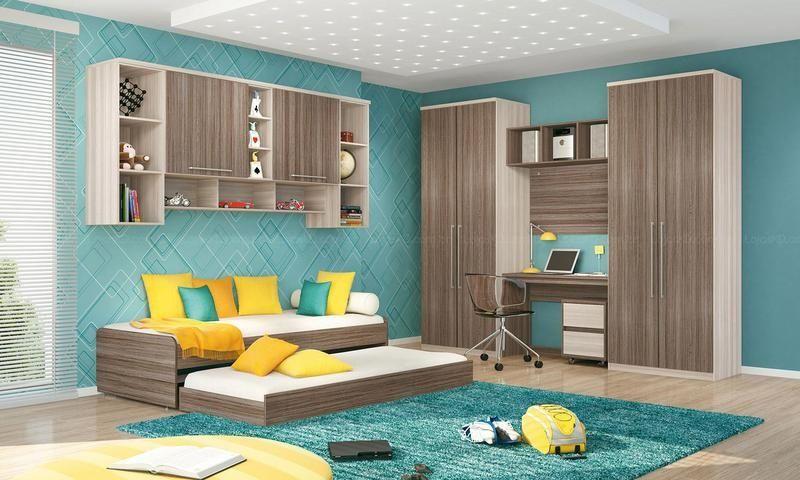 bicama - quarto azul com bicama e escrivaninha