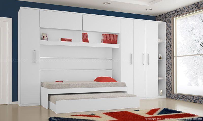 bicama - quarto com cama embutida no armário e bicama