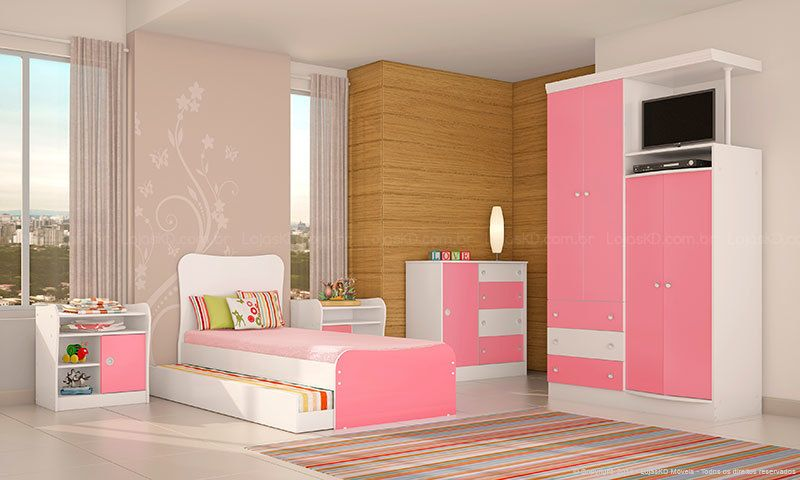 bicama - quarto de menina rosa e branco com bicama