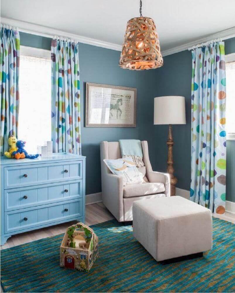 cômoda infantil azul para decoração de quarto de bebê