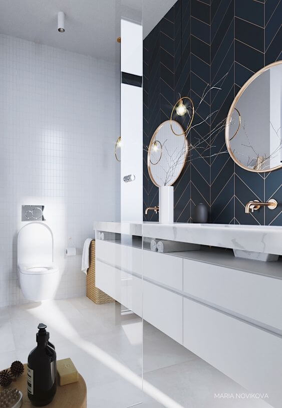 Cerâmica para banheiro azul e dourado