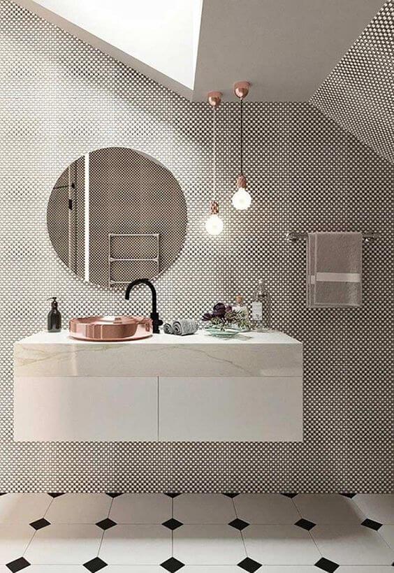 Cerâmica para banheiro preto e branco