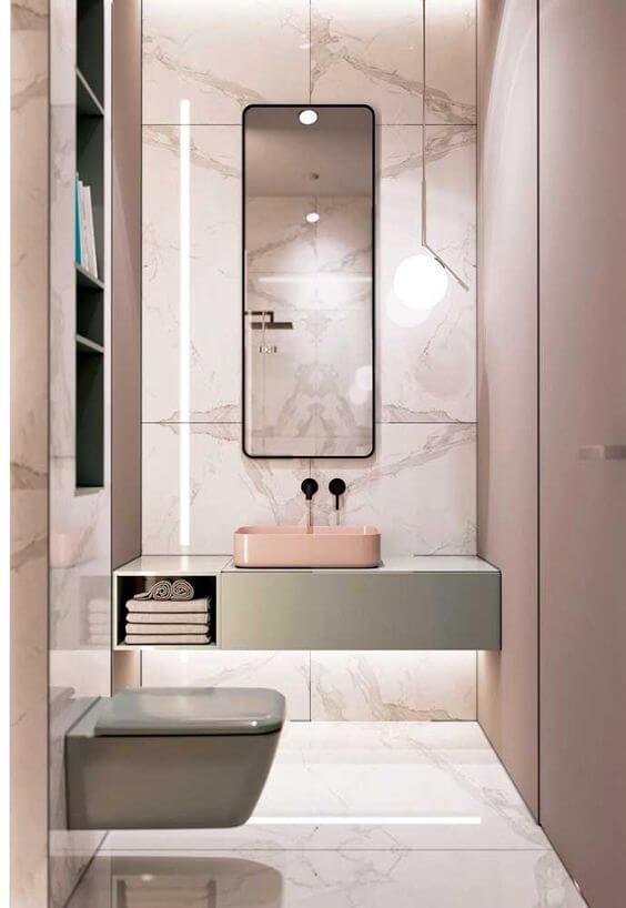 Cerâmica para banheiro rosa