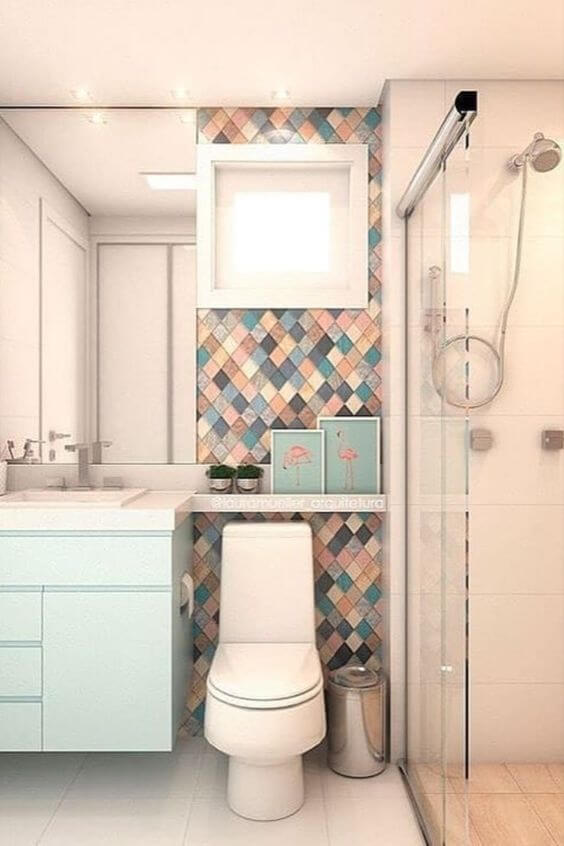 Cerâmica para banheiro em tons de azul