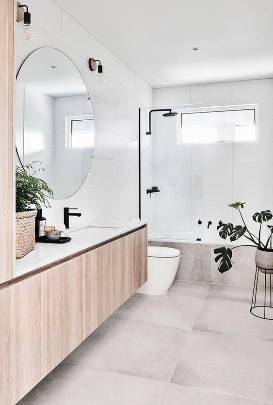 Banheiro clean e sofisticado