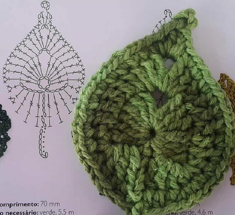 como fazer folha de crochê