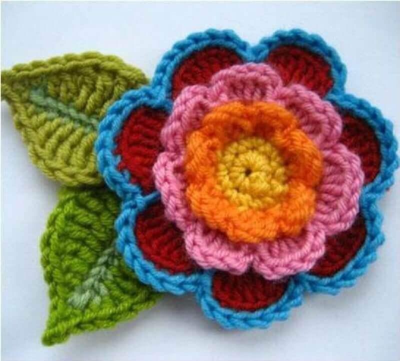 como fazer folhas de crochê para tapete