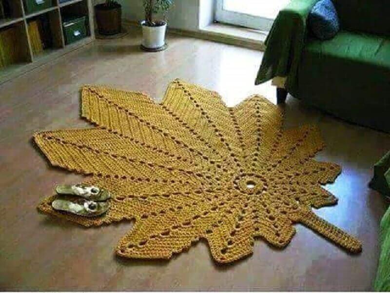 como fazer folhas de crochê para tapetes em formato de folha