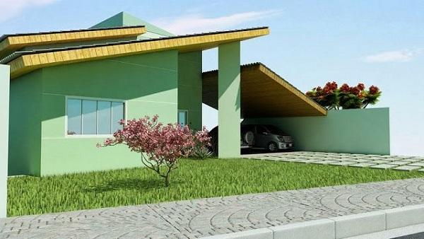 construção de casas projeto com fachada pequena