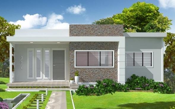 construção de casas simples com jardim