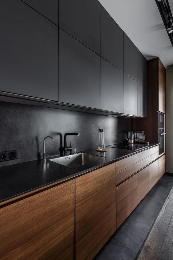 Cores para cozinha com armário pretoCores para cozinha com armário preto