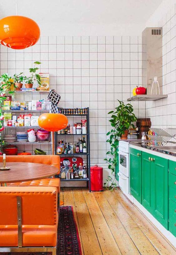 Cores para cozinha verde e laranja