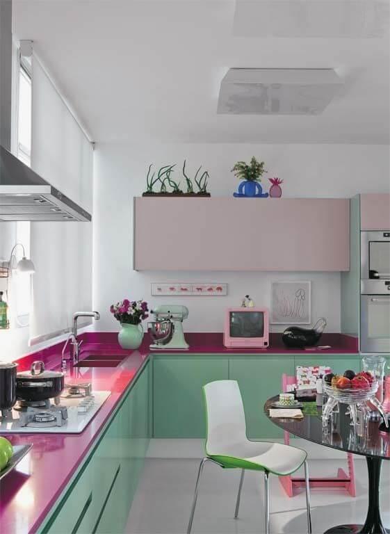 Cores para cozinha vede e rosa
