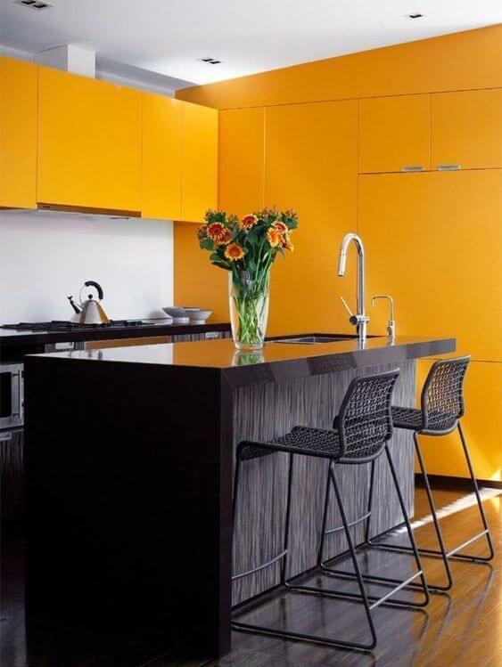 Cores para cozinha amarela e preto