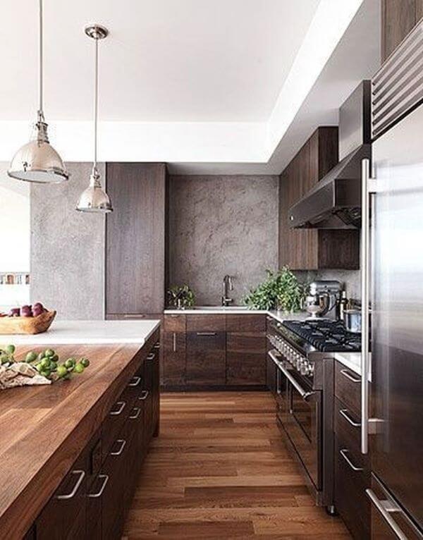 Cores para cozinha marrom com cinza