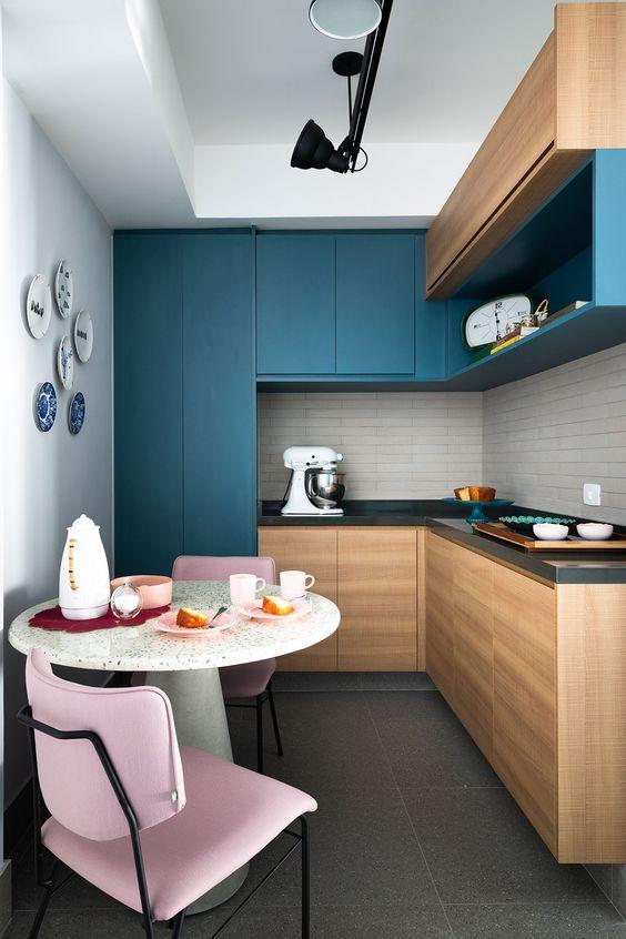 Cores para cozinha rosa e azul