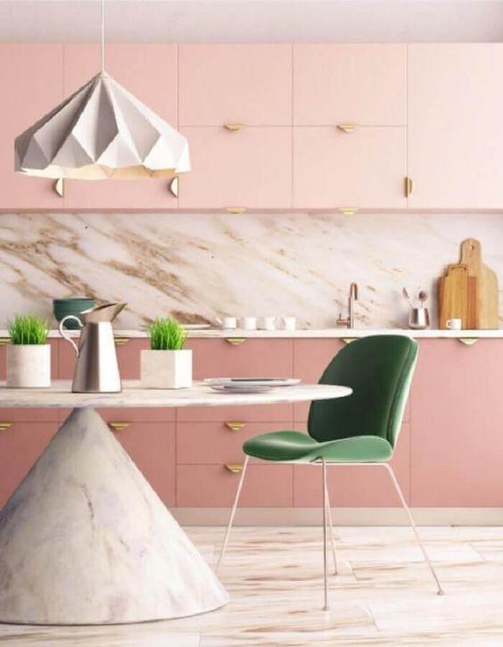 Cores para cozinha rosa e verde