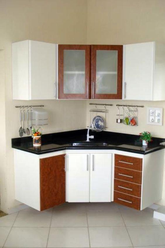 Cozinha modulada em L para armários de canto