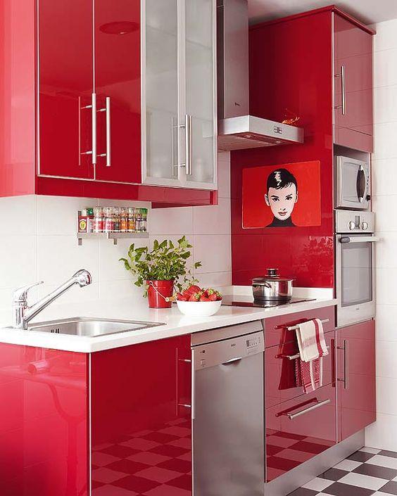 Cores para cozinha vermelha e branca moderna