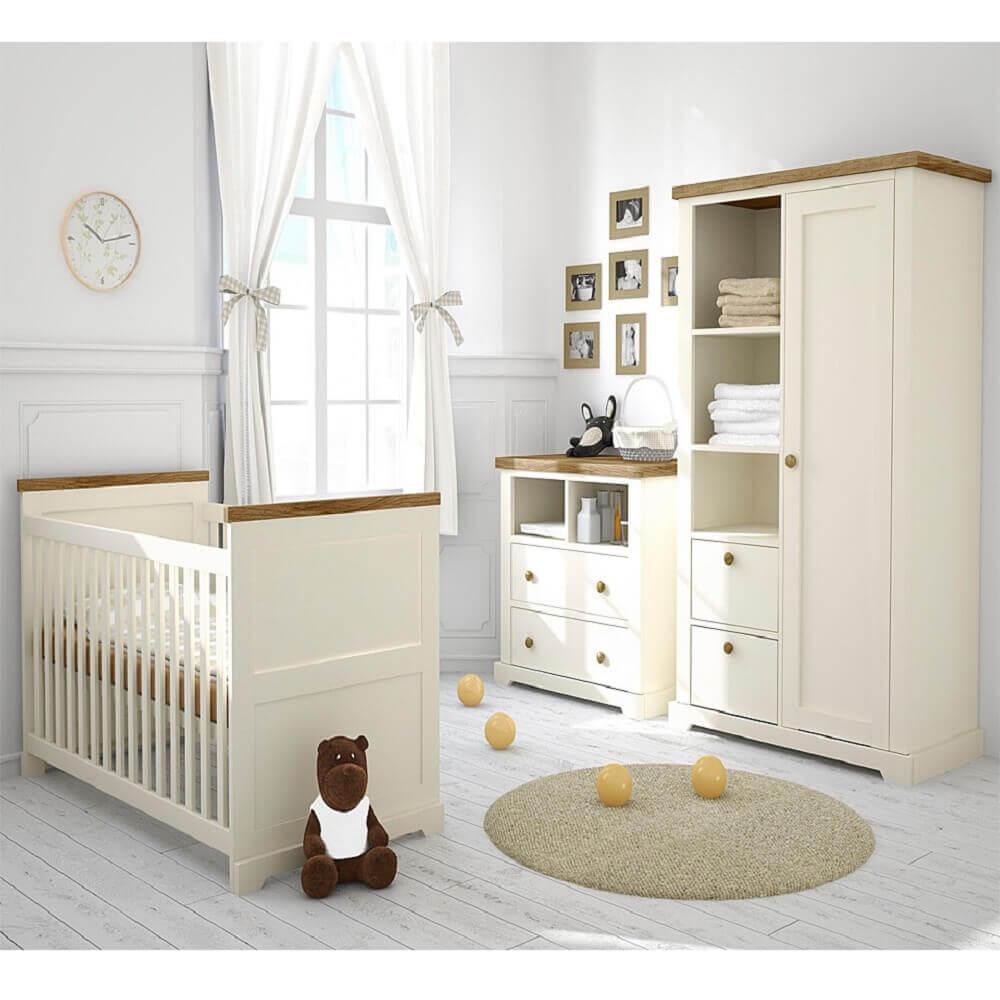 decoração clean para quarto de bebê com guarda roupa e cômoda de bebê tudo em tons sóbrios