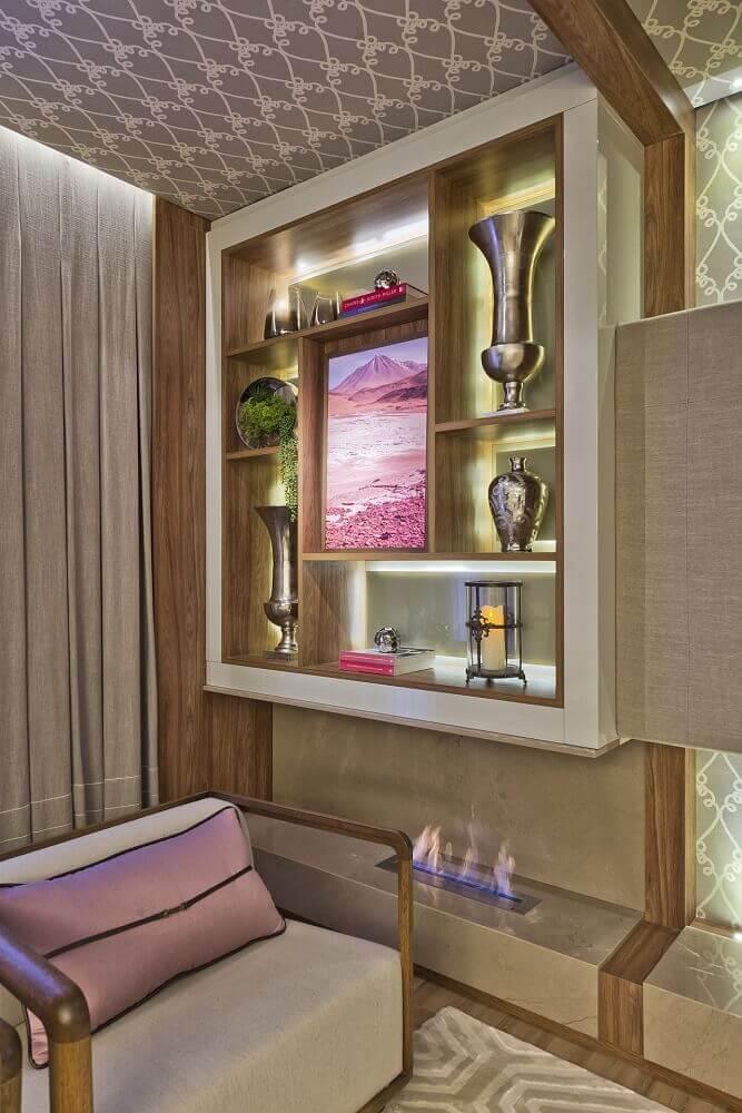 decoração com lareira a gás para sala de estar