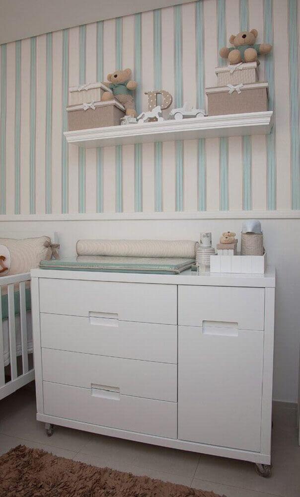 decoração com modelo simples de cômoda com trocador