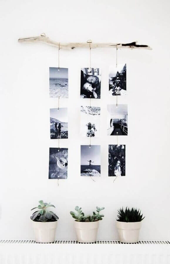 decoração de parede com mural de fotos