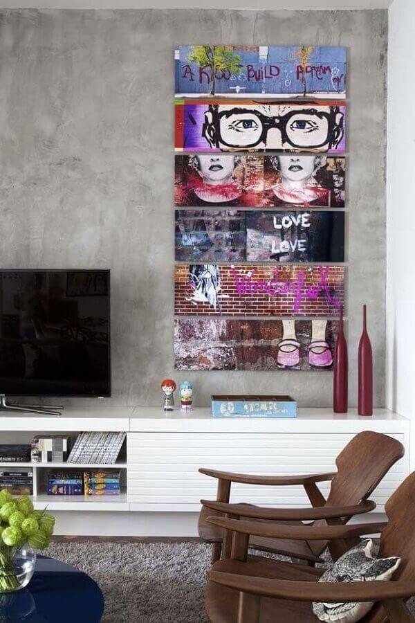 decoração de parede com quadros divertidos