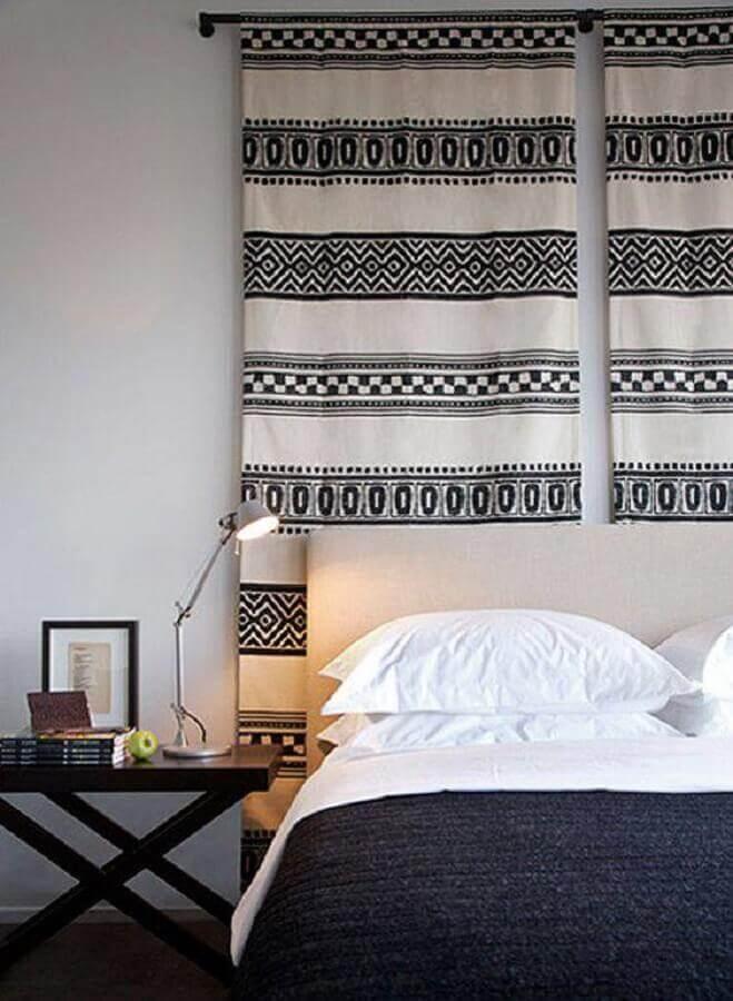 decoração de parede de quarto com tecido
