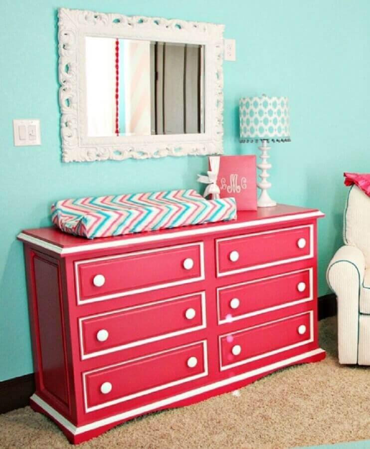 decoração quarto bebê feminino com cômoda de bebê cor de rosa