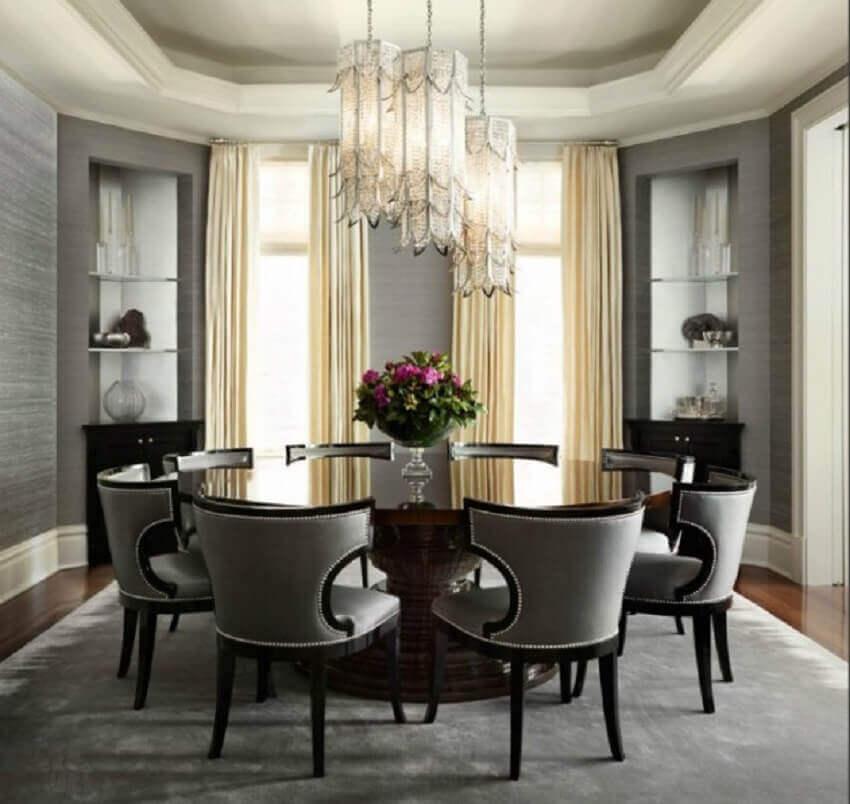 decoração sofisticada com mesa de jantar redonda