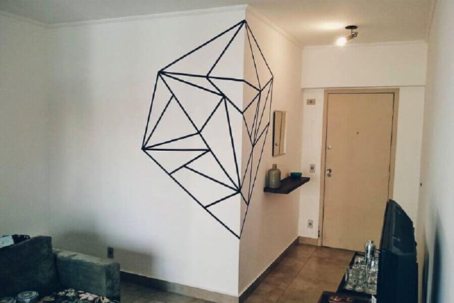 desenho geométrico com fita isolante para paredes decoradas