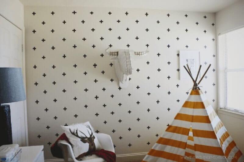 estilo escandinavo para paredes decoradas com fita isolante