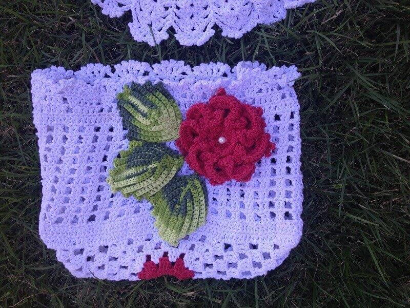 folhas de crochê para aplicação em jogo de banheiro