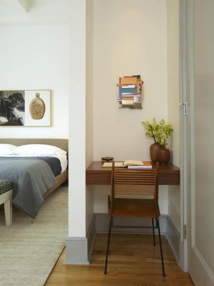 home office com escrivaninha pequena para quarto