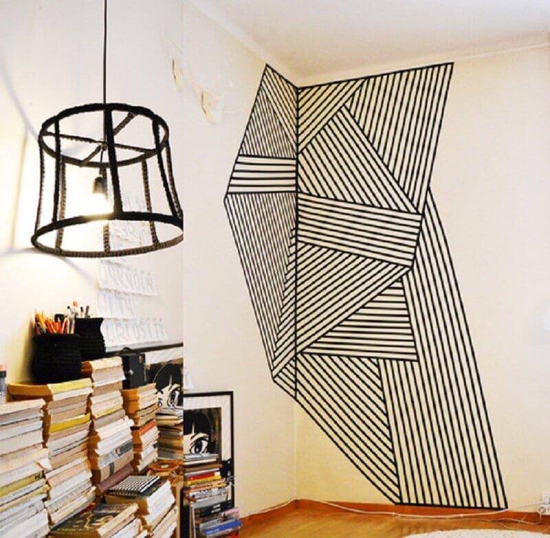 ideias para decorar paredes com fita isolante