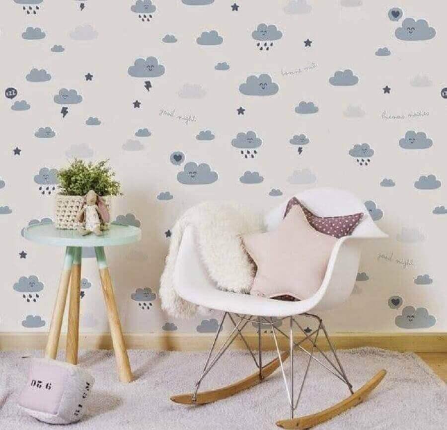 ideias para decorar paredes com papel de parede com estampa de nuvem