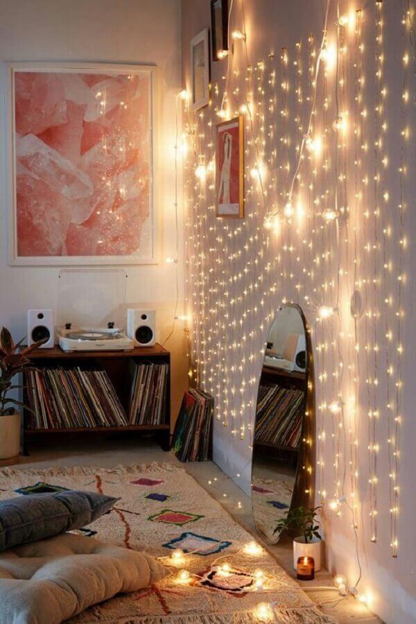 ideias para decorar paredes com pisca pisca